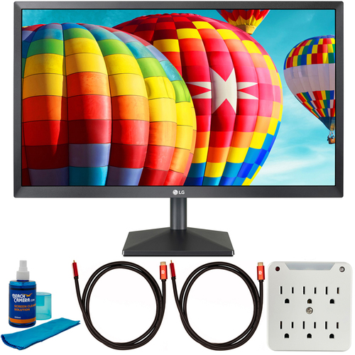 LG 24MK430H-B 24` FHD IPS LED 1920x1080 AMD FreeSync Monitor w/ Accessories Bundle