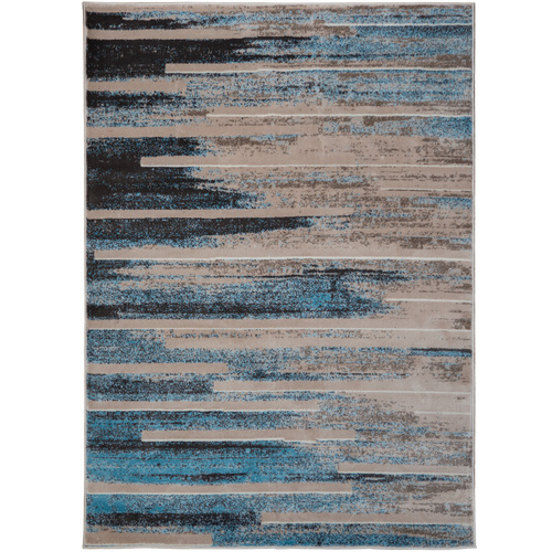 Blue/Tan Modern Indoor Area Rug with Non-Slip Backing, 5.25' x 7.5'