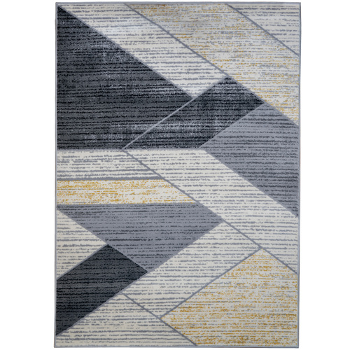 Black/Tan Modern Indoor Area Rug with Non-Slip Backing, 5.25' x 7.5'