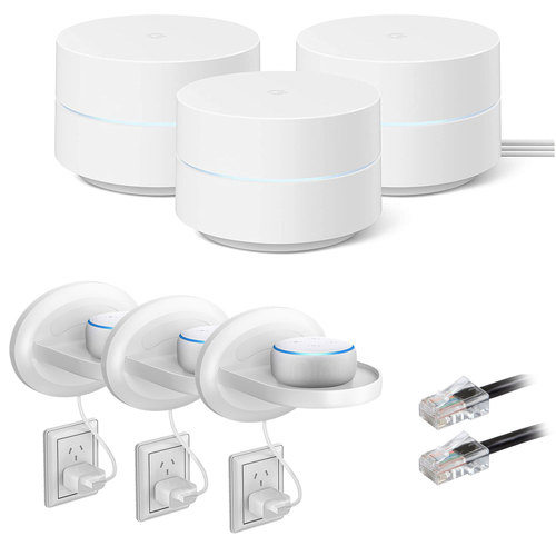 Google WiFi Mesh Network System Router AC1200 (GA02434-US) with Stand Bundle (3-Pack)