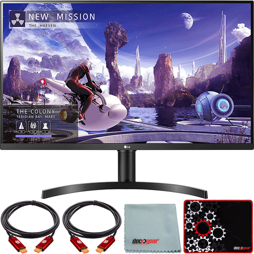 LG 32` QHD IPS Monitor with HDR10, AMD FreeSync, Dual HDMI + Mouse Pad Bundle