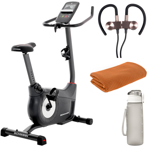Schwinn 130 Upright Exercise Fitness Bike with Fitness Accessories Bundle