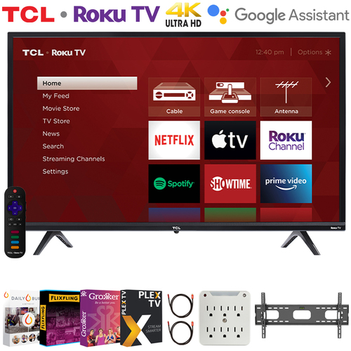 TCL 55S435 55` 4-Series 4K Ultra HD Smart Roku LED TV + Movies Streaming Pack