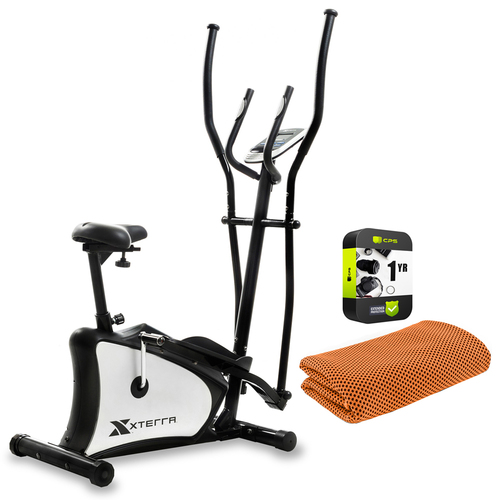 XTERRA Fitness EU150 Hybrid Elliptical/Upright Exercise Bike with Warranty Bundle