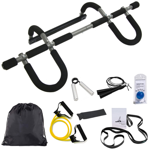 Stamina Doorway Pull Up Bar Trainer Plus w/ Deco Gear 7-Piece Fitness Kit