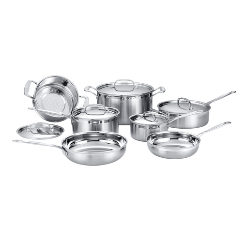 Stainless Steel Cookware 12 Piece Starter Set, Tri-Ply Core, Riveted Handles
