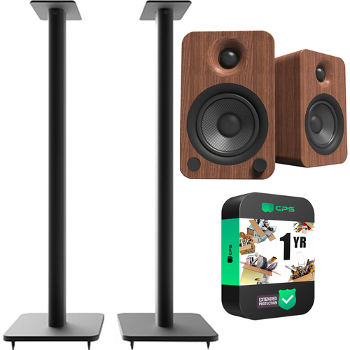 Kanto Pair of 32` Speaker Stands w/security-Black w/ Kanto YU4 Speaker Bundle