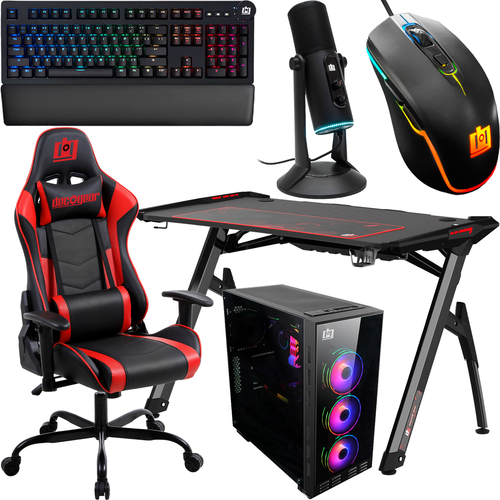 Deco Gear PC Gaming Starter Kit, LED Desk, Chair, PC Case, Mechanical Keyboard, LED Mouse