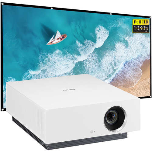 LG 4K UHD CineBeam Smart Laser Projector with 300` Display + 120` Screen