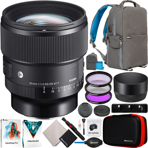 Sigma 85mm F1.4 DG DN Art Lens for L-Mount Full Frame Mirrorless + Accessories Bundle