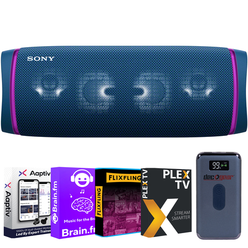 Sony SRS-XB43 EXTRA BASS Portable Bluetooth Speaker (Blue) + Entertainment Power Pack