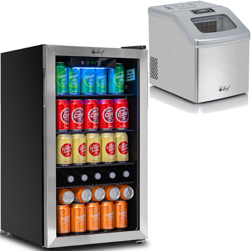 Deco Chef 118-Can Mini Fridge with Glass Door and 40LB Per Day Countertop Auto Ice Maker