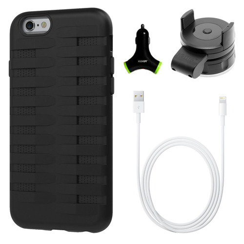 Urge Basics Cobra Apple iPhone 6 Silicone Dual Protective Case - Black Accessory Bundle