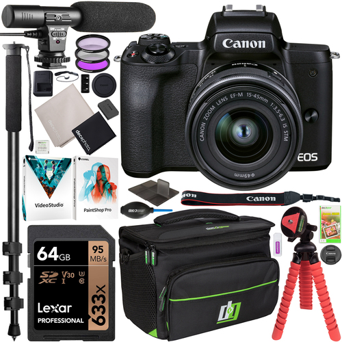 Canon EOS M50 Mark II Mirrorless Digital Camera + 15-45mm IS STM Lens Vlogger Bundle