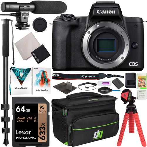 Canon EOS M50 Mark II Mirrorless Digital Camera Body + Vlogger Accessory Bundle