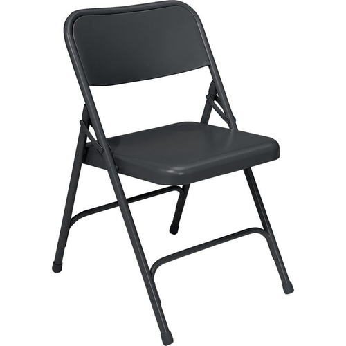 National Public Seating 200 Series Premium All-Steel Double Hinge Folding Chair, Black (Pack of 4)