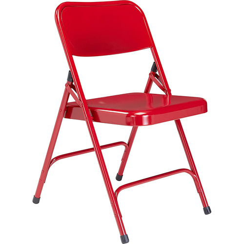 National Public Seating 200 Series Premium All-Steel Double Hinge Folding Chair, Red (Pack of 4)