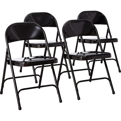 National Public Seating 50 Series All-Steel Folding Chair, Black (Pack of 4)
