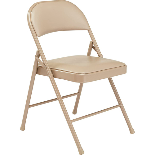 National Public Seating Commercialine Vinyl Padded Steel Folding Chair, Beige (Pack of 4)