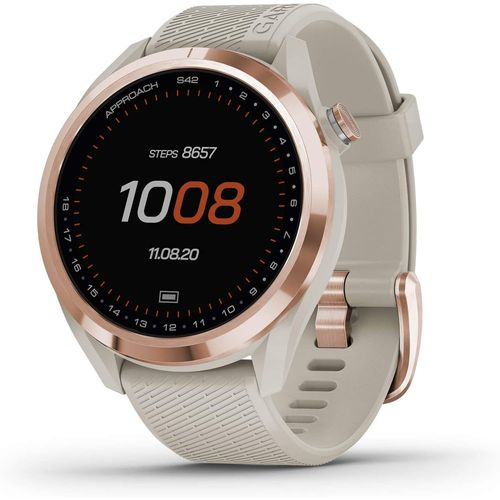 Garmin Approach S42 GPS Golf Watch, Rose Gold with Light Sand Band - 010-02572-12