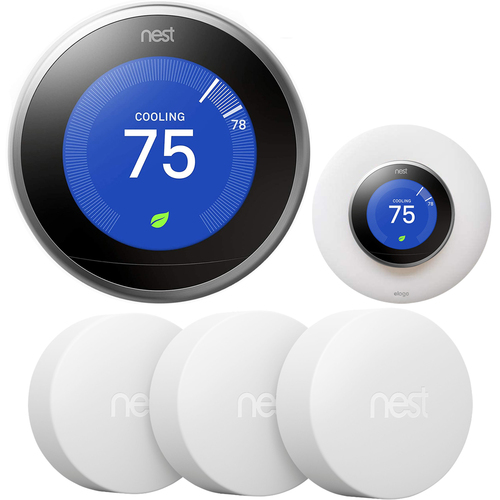 Google Nest Learning Smart Thermostat Stainless + Temperature Sensor 3Pack + elago Wallplate