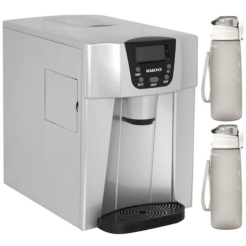 Igloo 2-in-1 Compact Ice Maker and Water Dispenser Silver with 2x Water Bottle