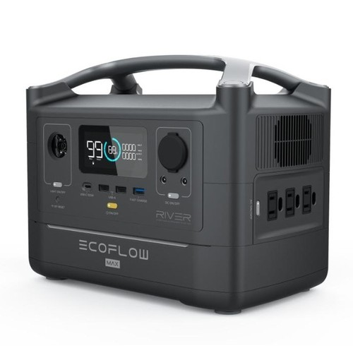 EcoFlow River 576Wh Max Portable Power Station with Lithium Battery - EFRIVER600MAX-AM