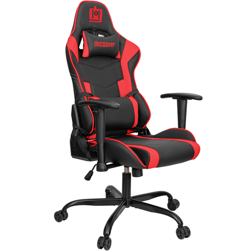Ergonomic Foam Gaming Chair with Adjustable Head and Lumbar Support, Red