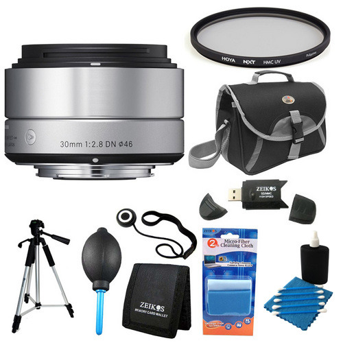 Sigma 30mm F2.8 EX DN ART Silver Lens for Micro Four Thirds Filter Bundle