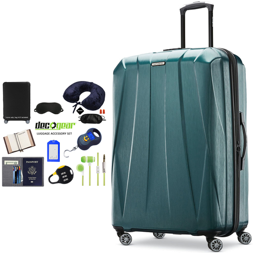 Samsonite Centric 2 Hardside Expandable Luggage 28` Green+Luggage Accessory Kit