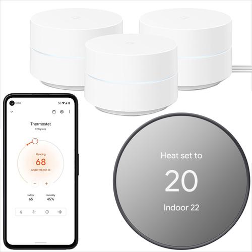 3-Pack Google AC1200 Gigabit Mesh Router System + Smart Thermostat