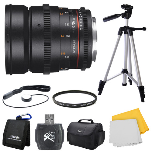 Rokinon DS 24mm T1.5 Full Frame Wide Angle Cine Lens for Sony A Mount Bundle