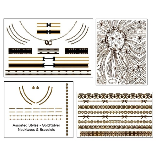 4 Sheets of Decal Accessory Tattoos with Bonus Nail Design (Black/Gold)