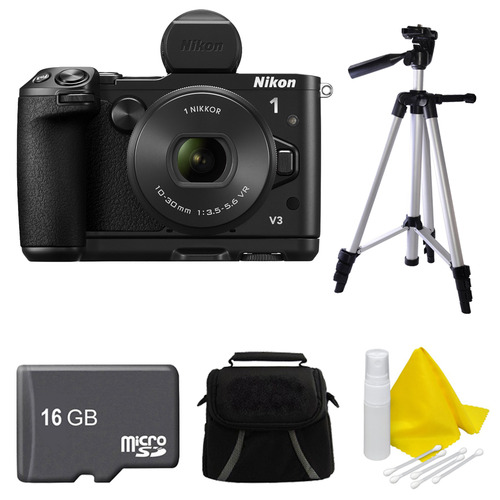 Nikon 1 V3 Mirrorless 18.4MP Digital Camera with 10-30mm Lens Black 16GB Bundle