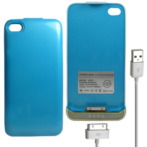Power Bank iPhone 4/4S Battery Case 2400mAh - Blue