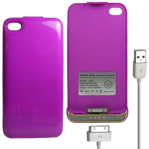 Power Bank iPhone 4/4S Battery Case 2400mAh - Purple