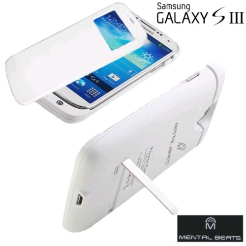 Mental Beats Battery Case with Protective Screen Cover For Samsung Galaxy S3 - White