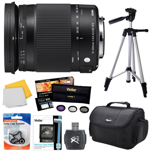 Sigma 18-300mm F3.5-6.3 DC Macro HSM Lens (Contemporary) for Sony Alpha Cameras Bundle