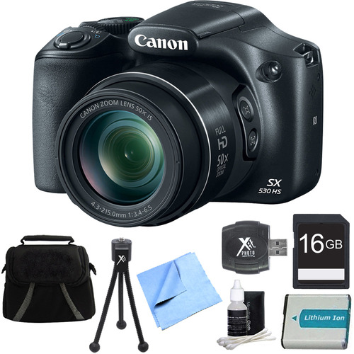 Canon PowerShot SX530 HS 16MP 50x Opt Zoom Full HD Digital Camera Bundle + 16GB SDCard