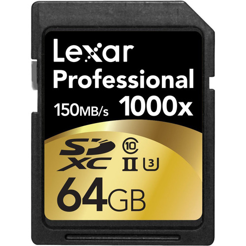 Lexar 64GB Professional 1000x SDHC/SDXC Class 10 UHS-II Memory Card Up to 150 MB/s