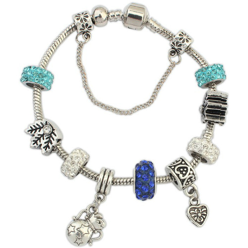 CZ Luxxe Jewelry White Gold Plated Rhodium Crystal and Alloy Charm Bracelet - Blue