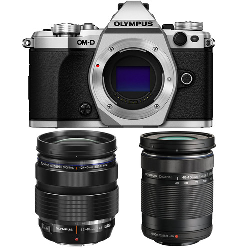 Olympus OM-D E-M5 Mark II Silver Digital Camera with 12-40mm and 40-150mm Lens Bundle