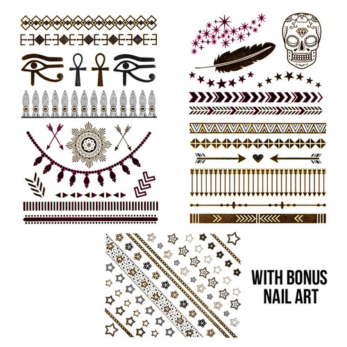 Vibrant Chic Colored Jewelry Tattoo Set  with Bonus Nail Art