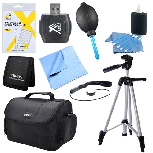 9 Piece Accessory Kit for SLR Cameras with Tripod, Camera Bag and More
