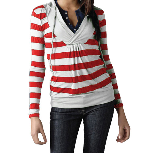 Twili Nautical Stripe Lightweight Hoodie with Pull String - Red/White (Size: XLarge)