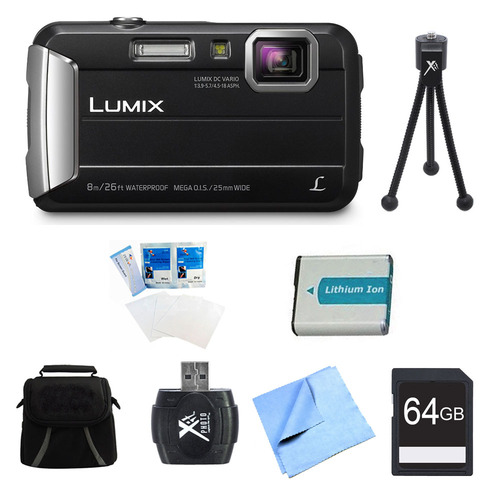 Panasonic LUMIX DMC-TS30 Active Tough Black Digital Camera 64GB Bundle