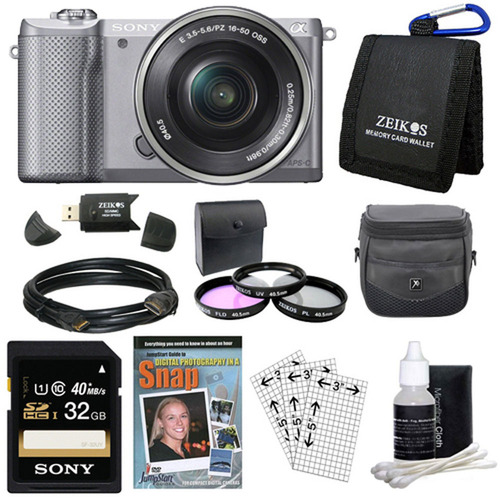 Sony a5000 Compact Interchangeable Lens Camera Silver 16-50mm Power Zoom Lens Bundle