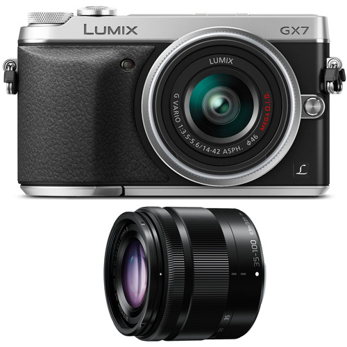 Panasonic LUMIX DMC-GX7 Interchangeable Lens (DSLM) Silver Camera Two Lens Bundle