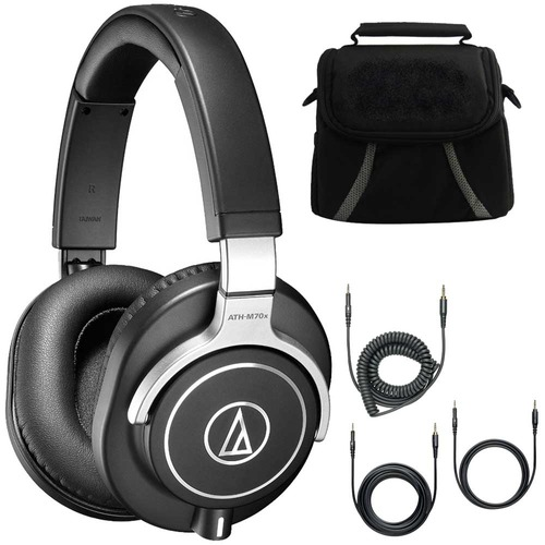 Audio-Technica ATH-M70x Professional Monitor Headphones Black Deluxe Bundle