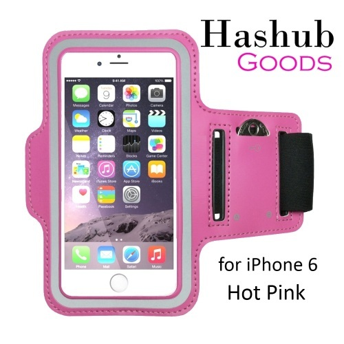 Hashub Goods Sports Running Armband for iPhone 6/Galaxy Alpha/Sony Z3/Moto X in Hot Pink
